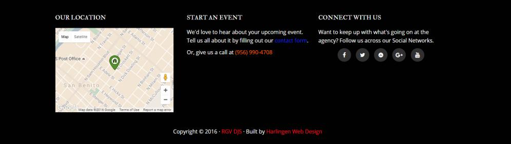 rgv djs footer information and details