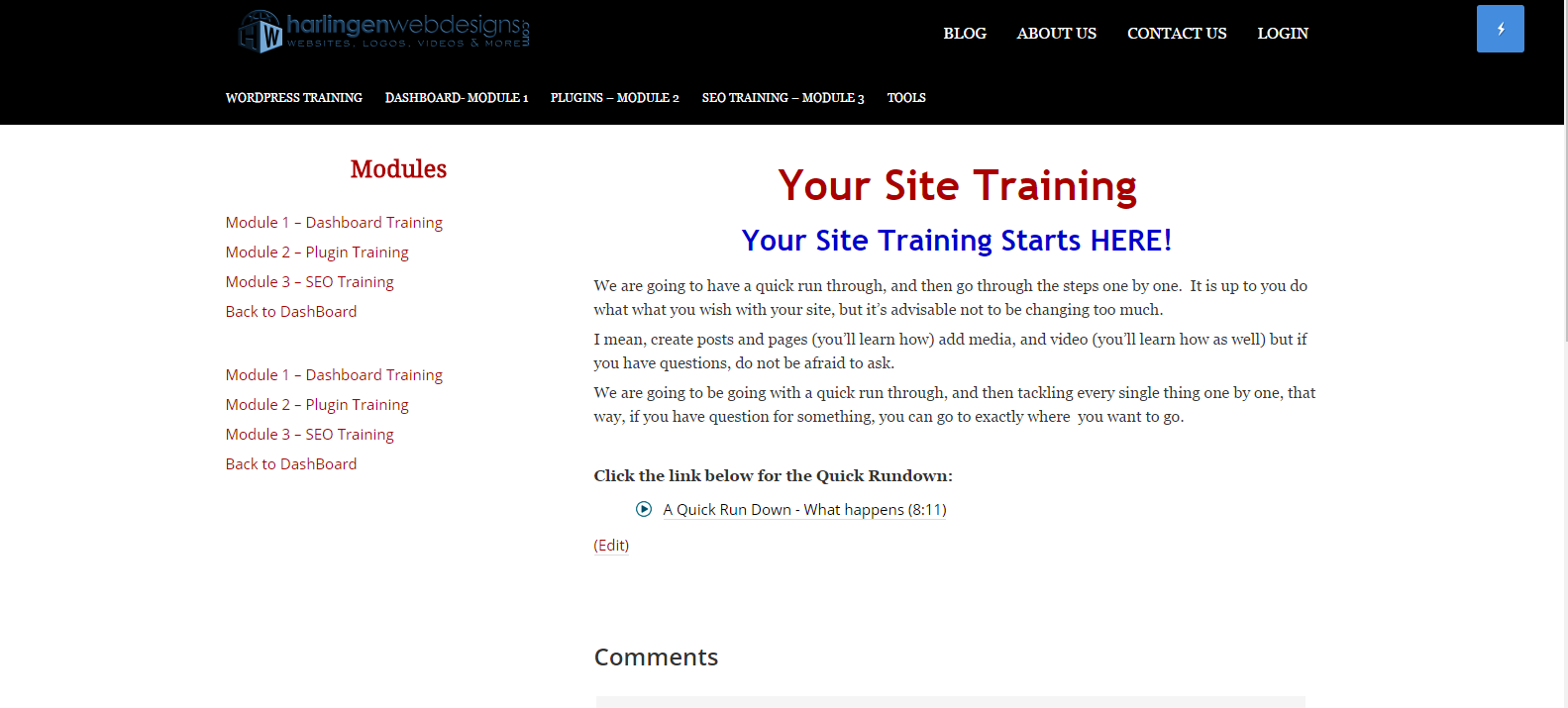 Website Editing and Training
